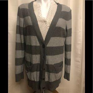 Anne Taylor Faux Cashmere Grey Striped cardigan